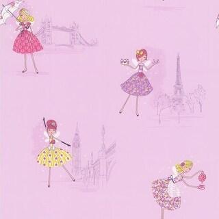 Brewster 443-90509 Fairy Tea Time Purple European Party Wallpaper