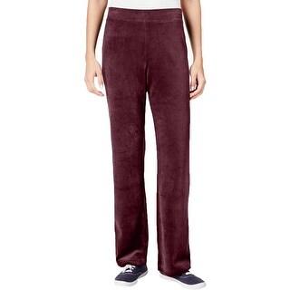 Karen Scott Womens Petites Velour Pants Pull-On Solid