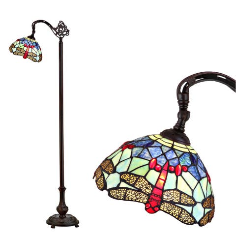 """Dragonfly Tiffany-Style 60"""" Arched LED Floor Lamp, Bronze by JONATHAN Y - 60"""" H x 21"""" W x 11"""" D - 60"""" H x 21"""" W x 11"""" D"""