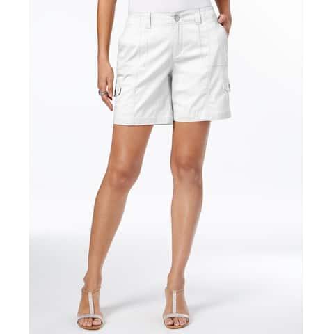 Style & Co Women's Comfort Waist Cargo Shorts Bright White Size 18