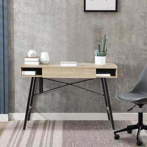 EBELLO-Rustic Oak Wood 3-Drawer Writing Desk