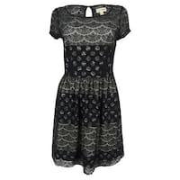 Maison Jules Women's Lace A-Line Dress - moonless night combo - S