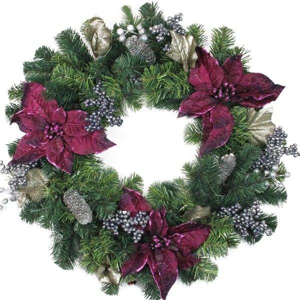 """24"""" Two-Tone Pine with Purple Poinsettias, Silver Pine Cones and Berries Christmas Wreath - Unlit - green"""