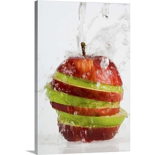 """""""Water pouring on apple"""" Canvas Wall Art"""
