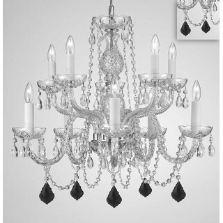 Crystal 10 Light Chandelier With Color Crystal Pendants - Silver