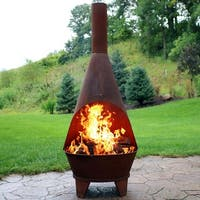 Sunnydaze Rustic Chiminea Outdoor Wood-Burning Fireplace Fire Pit - 6-Foot