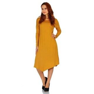 Simply Ravishing Basic Asymmetrical Hem Long Sleeve Casual Dress (Size: S-3X)
