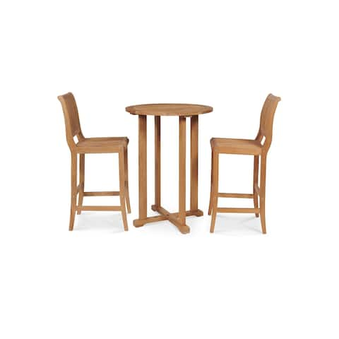 Palm 3-Piece Teak Round Table Bar Height Outdoor Dining Set