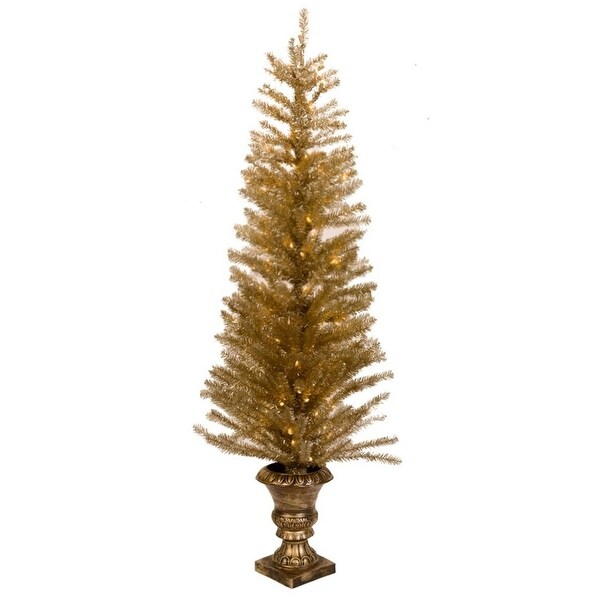 """61"""" Pre-lit Potted Gold Gilded Artificial Christmas Tree - Clear LED Lights"""