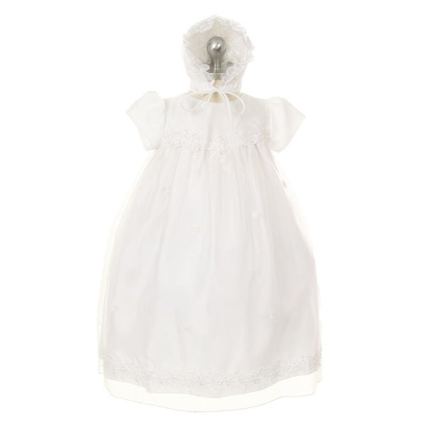 8f0cc9d72a8 Shop Kids Dream Baby Girls White Organza Pearl Sequin Bonnet Christening  Dress - Free Shipping On Orders Over  45 - Overstock - 23085767