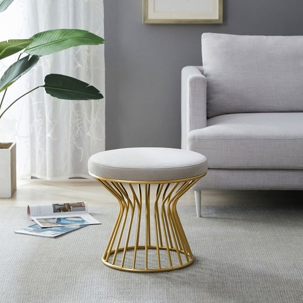 Silver Orchid Burkett Round Ottoman / Stool with Metal Base. Opens flyout.