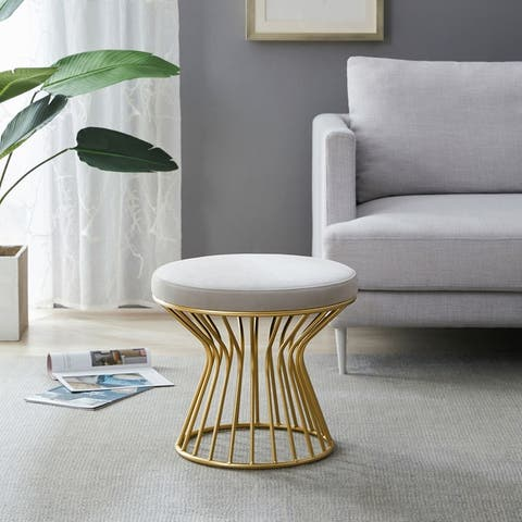 Silver Orchid Burkett Round Ottoman / Stool with Metal Base