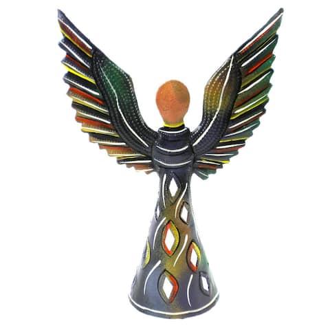 Handmade Hand Painted 9 Inch Standing Metal Angel (Haiti)