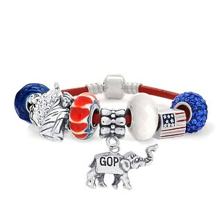 Bling Jewelry 925 Sterling Silver Patriotic American Republican Elephant Charm Bracelet