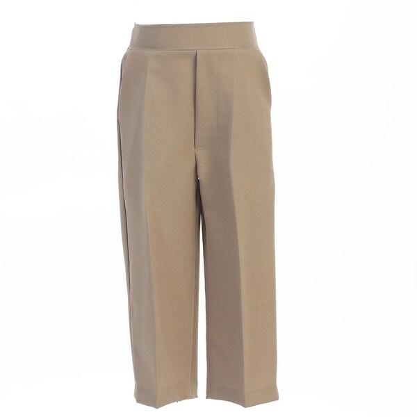 Baby Boys Khaki Elastic Waistband Special Occasion Long Dress Pants 3-24M