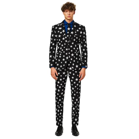 Black and Ivory Star Printed Men Adult Christmas Suit - Large