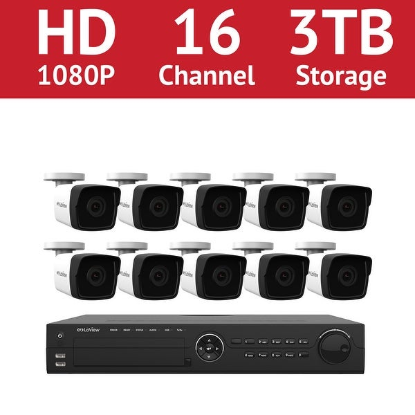 LaView 16 Channel 1080p IP NVR with (10) 1080p Bullet Cameras and a 3TB HDD