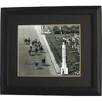 Secretariat signed 1973 Kentucky Derby Horse Racing 16X20 Photo Vintage BW Finish Line Custom Frame