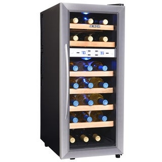 NewAir AW-211ED 21 Bottle Dual Zone Wine Cooler - Stainless Steel - stainless steel & black