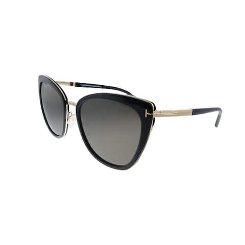 Tom Ford Simona TF 717 01A Unisex Shiny Black Frame Grey Lens Sunglasses