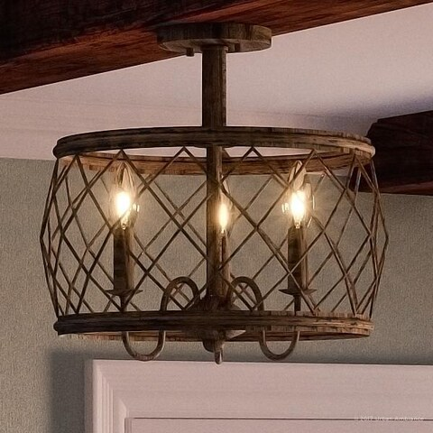 """Luxury French Country Semi-Flush Ceiling Light, 14.5""""H x 15""""W, with Shabby Chic Style, Gold Accented Silver Leaf Finish"""