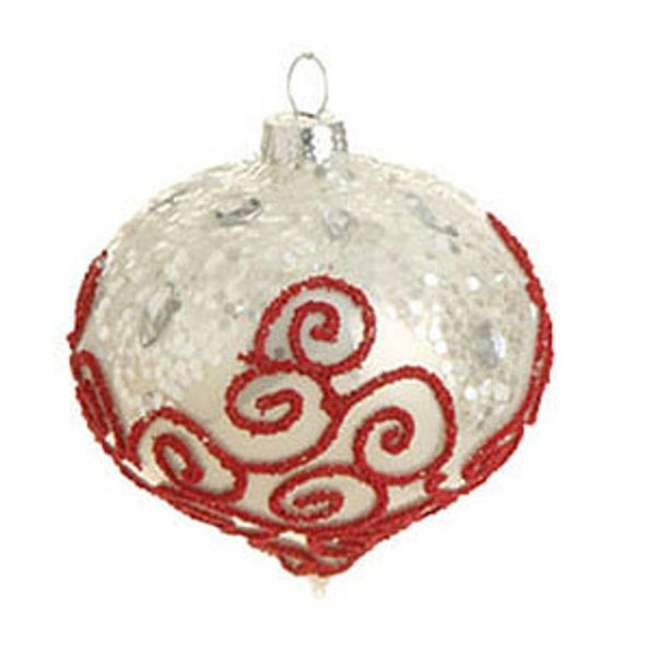 "3"" Jeweled Cream Glass Onion Christmas Ornament with Red Beaded Swirl Design"