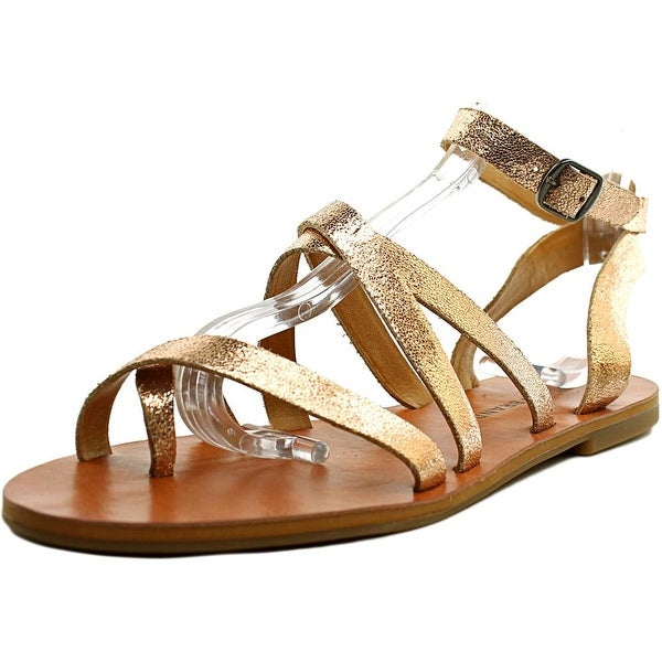 Lucky Brand Aubree Women  Open Toe Leather Gold Gladiator Sandal