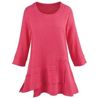 Focus Fashion Women's Waffle Weave Tunic Top - Tiered Hem 3/4 Sleeves - Fuchsia