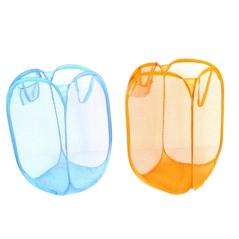 Folding Pop Up Laundry Clothing Washing Basket 2 Pcs Blue Orange - Blue,Orange
