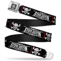 Stone Cold Steve Austin Skull Icon Full Color Weathered Black White Stone Seatbelt Belt