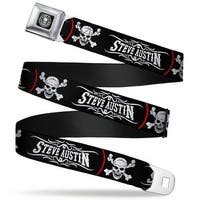 Stone Cold Steve Austin Skull Icon Full Color Weathered Black White Stone Seatbelt Belt Standard