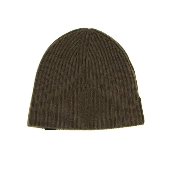 shop burberry men s olive green lightweight cashmere knitted with leather tab beanie 3994783 one size overstock 30381009 burberry