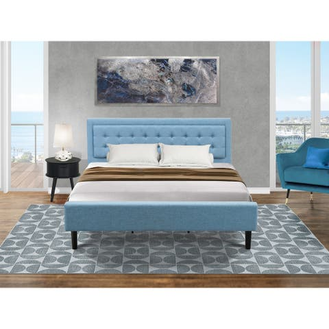 Platform King Bed Set with Mid Century Bed and a Navy Blue Bedroom Nightstand - Denim Blue Fabric Bed - (End Table Piece Option)