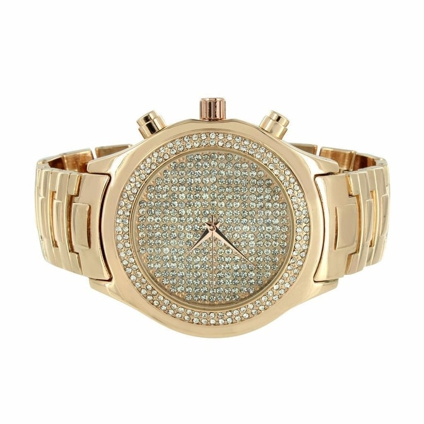 Mens Rose Gold Finish Watch Fully Iced Out Lab Diamonds Stainless Steel Back Analog Display