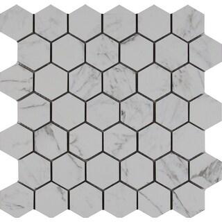 """MSI NCAR2X2HEX  Carrara - 2"""" x 2"""" Hexagon Mosaic Tile - Matte Porcelain Visual - Sold by Carton (8 SF/Carton) - Marble"""