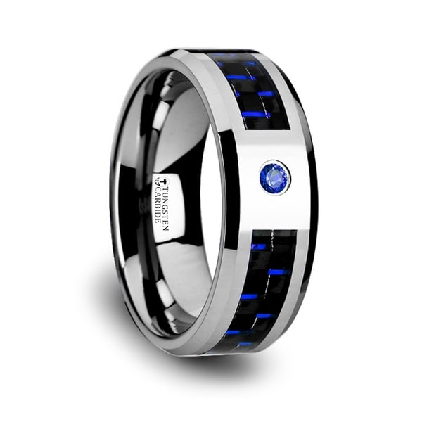 Neptune Tungsten Carbide Ring With Black And Blue Carbon Fiber And Blue Sapphire Setting With Bevels