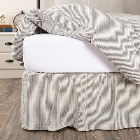 Hatteras Seersucker Blue Ticking Stripe Bed Skirt