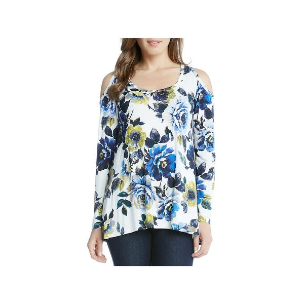 fc188578c7343 Shop Karen Kane Womens New Leaf Blouse Floral Print Cold Shoulder - Free  Shipping On Orders Over  45 - Overstock - 21345569