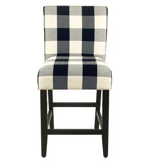 Link to Porch & Den Minna Black/ Cream Plaid-upholstered Parsons Counter Chair - 24 inches Similar Items in Dining Room & Bar Furniture