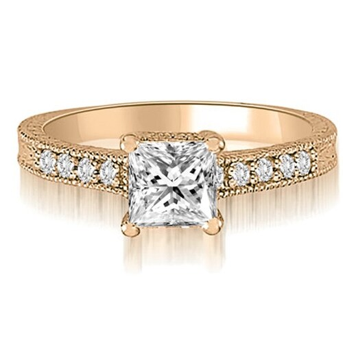 0.65 cttw. 14K Rose Gold Milgrain Princess And Round Diamond Engagement Ring