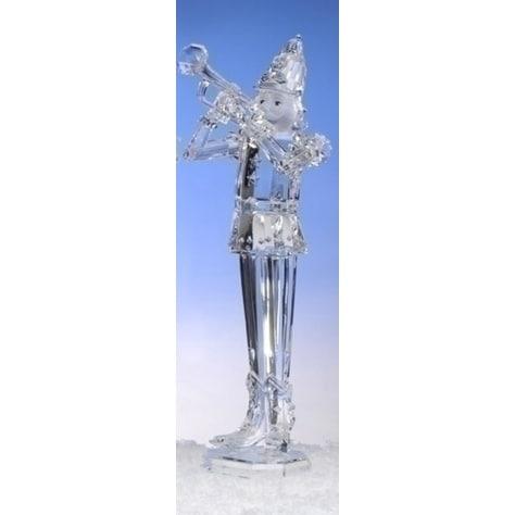 "17.75"" Icy Crystal Acrylic Trumpeting Christmas Nutcracker Figure - CLEAR"