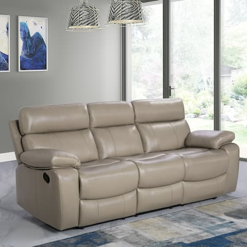 Abbyson Clayton Top Grain Leather Reclining Sofa