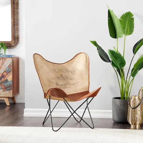 Brown Canvas Rustic Butterfly Chair 36 x 30 x 29 - 30 x 29 x 36