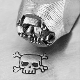 ImpressArt Metal Punch Stamp 'Skull & Crossbones' 6mm (1/4 Inch) Design - 1 Piece