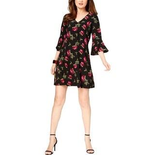 Jessica Howard Womens Petites Shift Dress Mixed Media V-Neck