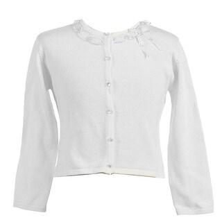 Little Girls White Ruffle Adorned Neckline Cardigan 2T-6