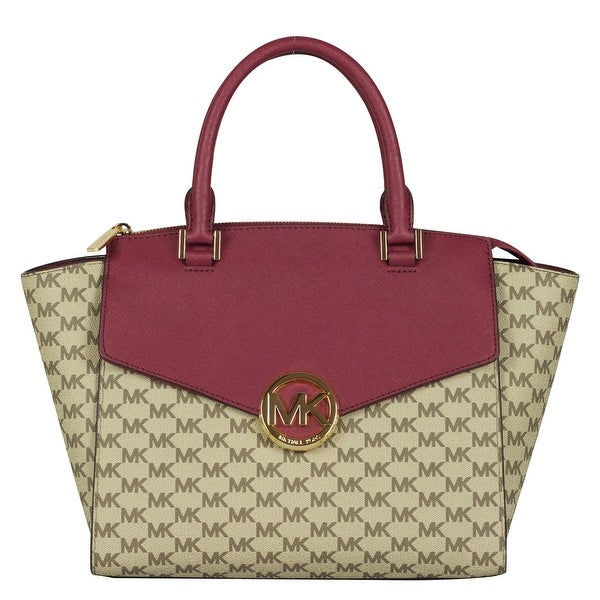 619fed387658 Shop Michael Kors Large Hudson Satchel Handbag in Natural/ Mulberry - Free  Shipping Today - Overstock - 25737128