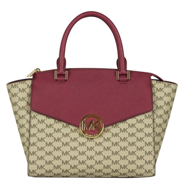 daba41bd6 Michael Kors Large Hudson Satchel Handbag in Natural/ Mulberry. Image  Gallery