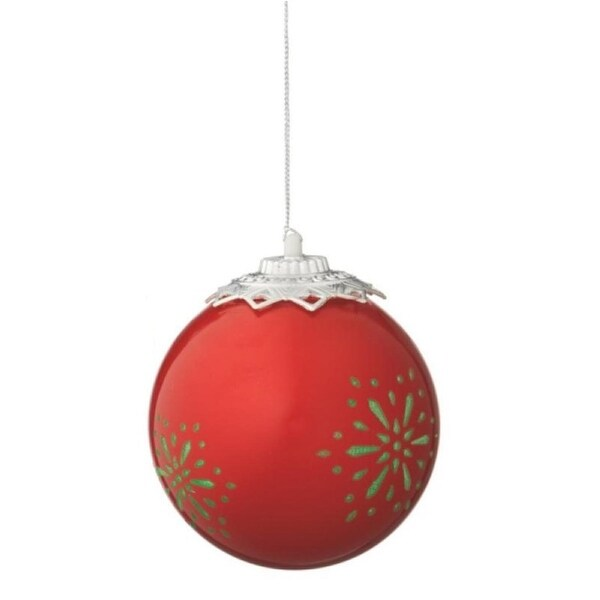 "Red Battery Operated LED Lighted Snowflake Shatterproof Christmas Ball Ornament 3.5"" (90mm)"