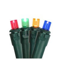 Set of 50 Multi Colored LED Wide Angle Christmas Lights - Green Wire